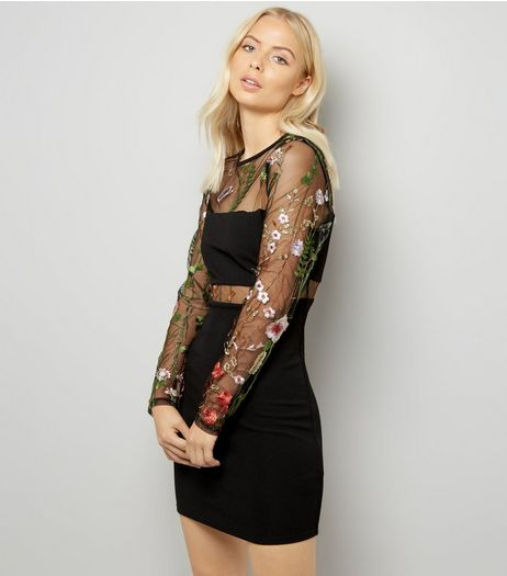 Black Floral Embroidered Mesh Long Sleeve Dress | New Look