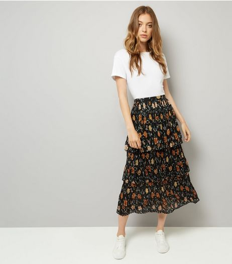 Black Floral Print Pleated 3 Tier Midi Skirt | New Look