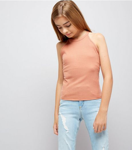 Teens Coral Ribbed High Neck Cami | New Look