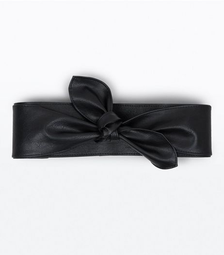 Black Bow Front Wide Belt | New Look