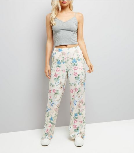 Shell Pink Floral Print Wide Leg Trousers | New Look