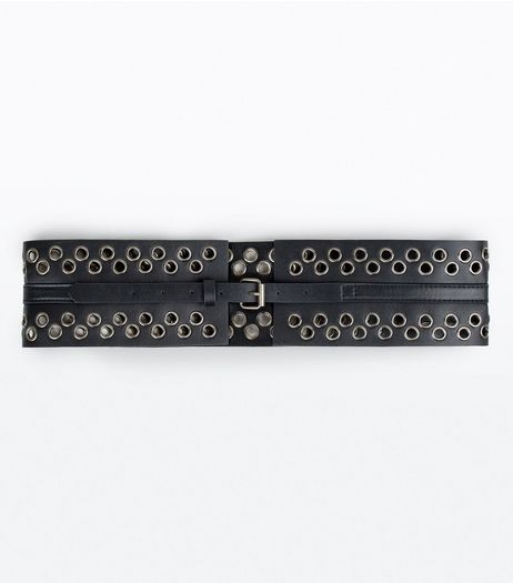 Black Eyelet Detail Buckle Corset Belt | New Look