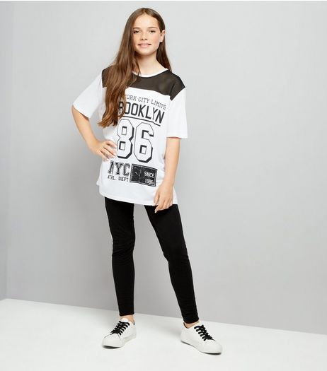 Teens Black NYC Print Leggings  | New Look