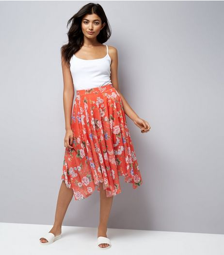Red Floral Print Mesh Hanky Hem Midi Skirt  | New Look
