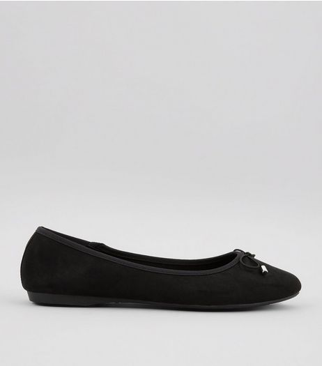 Wide Fit Black Suedette Pointed Ballet Pumps | New Look