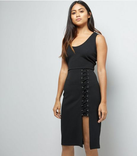 Petite Black Lace Up Skirt Bodycon Dress | New Look