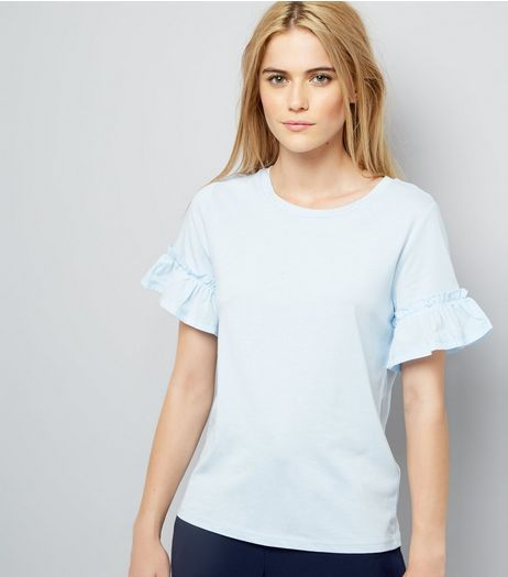 Pale Blue Woven Frill Sleeve Top | New Look