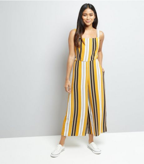 Petite Stripe Tie Back Culotte Jumpsuit | New Look