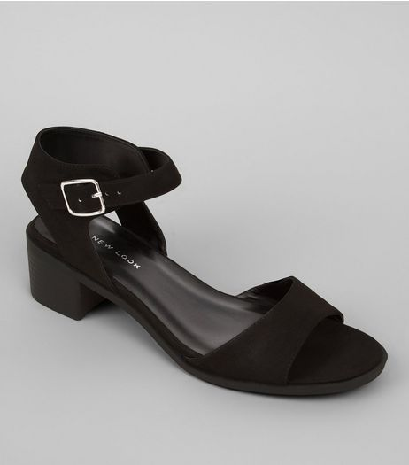 Wide Fit Black Suedette Block Heel Sandals | New Look