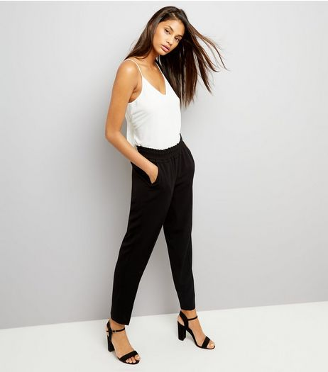 Black Frill Waist Trousers | New Look