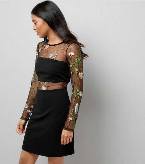 Petite Black Mesh Floral Embroidered Long Sleeve Dress | New Look