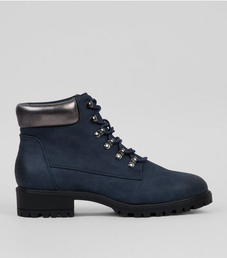 Navy Contrast Panel Lace Up Boots | New Look