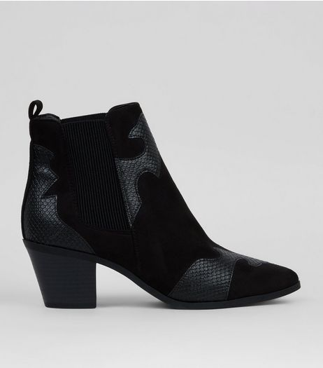Black Suedette Snakeskin Appliqué Western Boots | New Look
