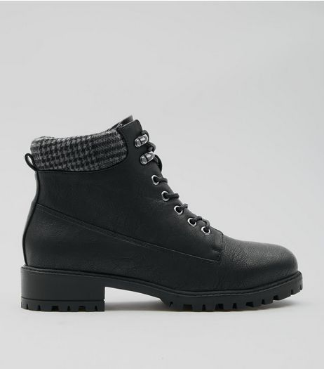 Black Dogstooth Lace Up Ankle Boots | New Look