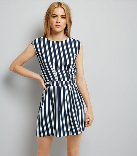 Navy Stripe Tie Waist Playsuit | New Look