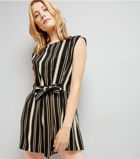 Black Stripe Tie Waist Playsuit | New Look