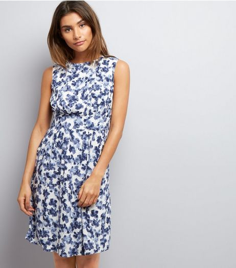 Apricot Navy Floral Print Sleeveless Dress  | New Look