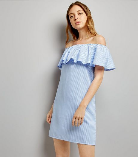 Cameo Rose Blue Stripe Bardot Dress | New Look
