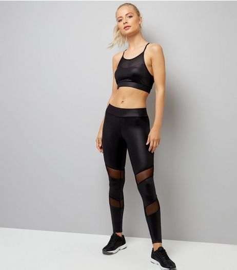 Black Wet Look Mesh Panel Sports Leggings | New Look