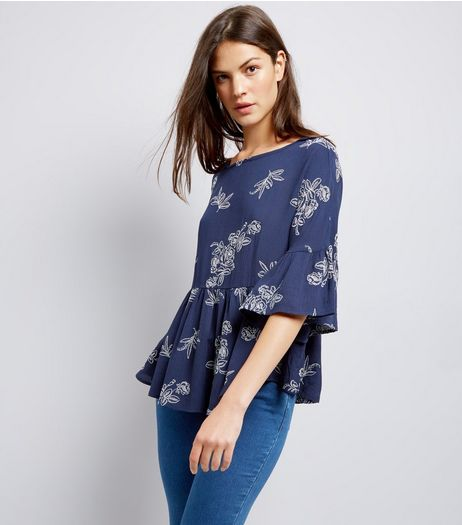 Apricot Navy Frill Hem Floral Print Top  | New Look