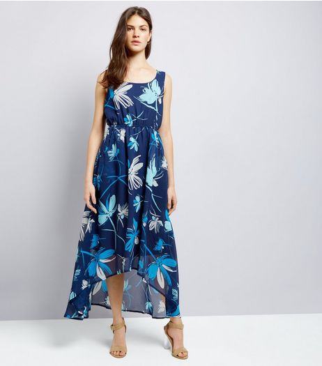 Apricot Blue Floral Print Dip Hem Maxi Dress | New Look