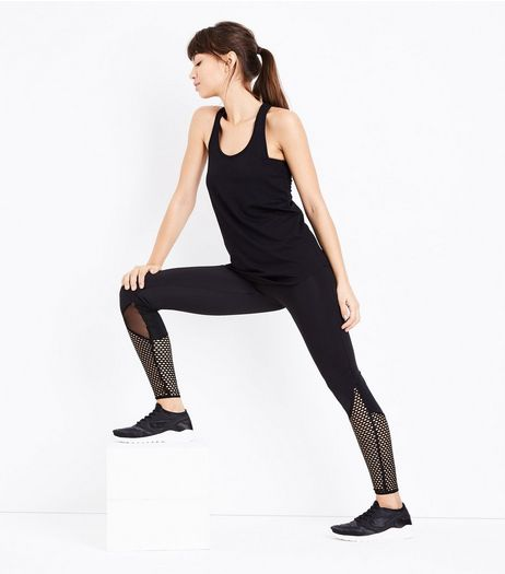 Black Fishnet Panel Sports Leggings | New Look