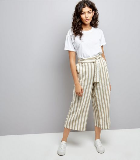 White Contrast Stripe Culottes | New Look