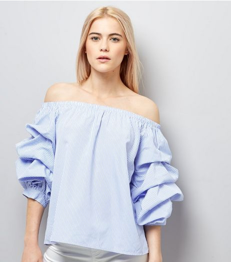 Blue Stripe Ruched Sleeve Bardot Neck Top | New Look