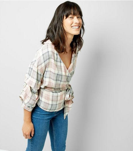White Contrast Check Tie Front Top | New Look