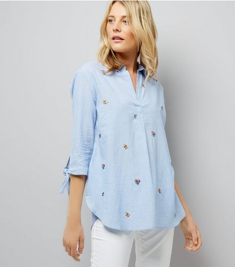 Blue Floral Embroidered Tie Sleeve Shirt | New Look
