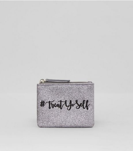 Silver Glitter Treat Yourself Embroidered Purse | New Look