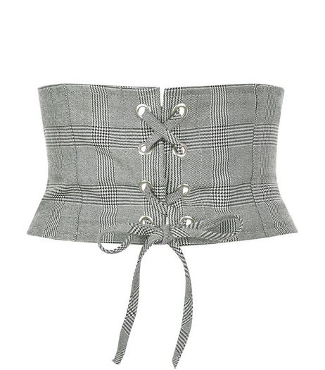 Black Check Corset Belt  | New Look