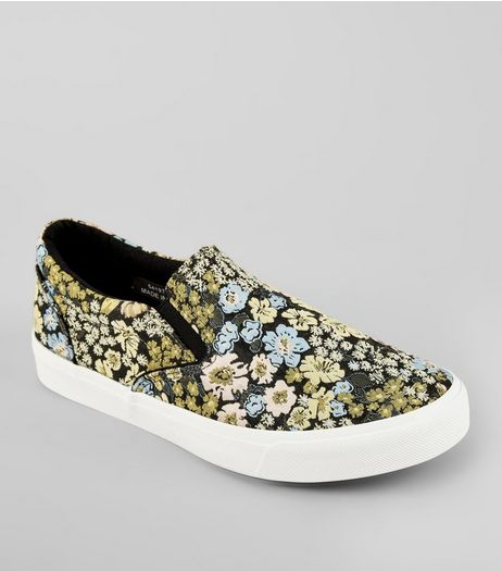 Black Floral Brocade Slip On Plimsolls | New Look
