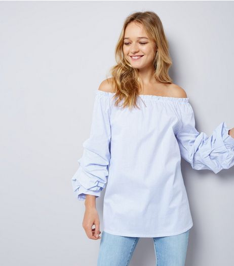 Cameo Rose Blue Stripe Ruched Sleeve Bardot Neck Top | New Look