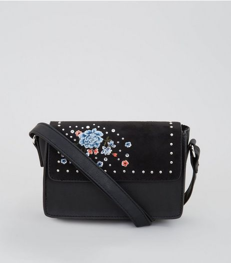 Black Floral Embroidered Stud Cross Body Bag | New Look