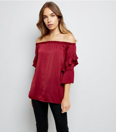 Blue Vanilla Red Satin Frill Sleeve Bardot Neck Top | New Look