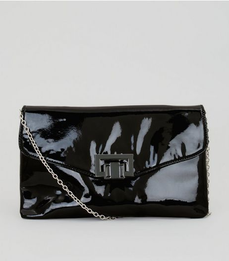 Black Patent Push Lock Cross Body Bag | New Look