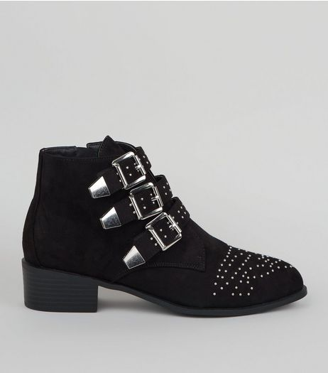 Wide Fit Suedette Stud Buckle Ankle Boots | New Look