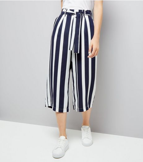 Blue Stripe Tie Waist Cropped Trousers  | New Look