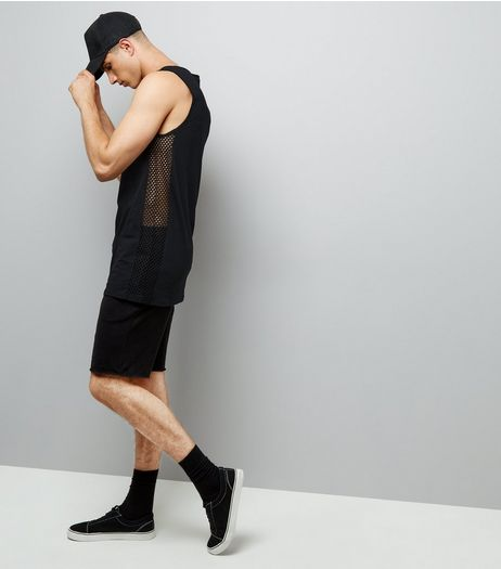Black Mesh Side Tank Vest | New Look