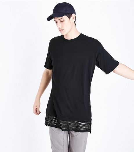 Black Mesh Hem T-Shirt | New Look
