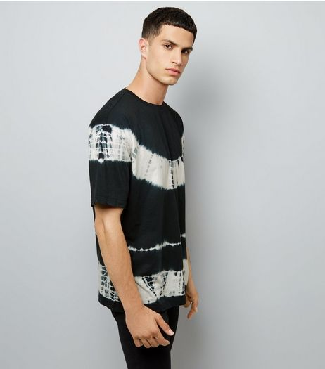 Black Monochrome Tie Dye Stripe T-Shirt | New Look