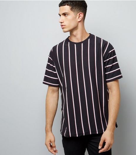 Black Vertical Stripe T-Shirt | New Look
