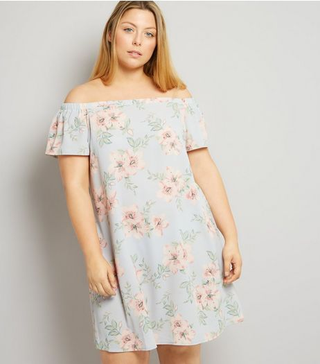 Curves Pink Floral Print Bardot Neck Dress | New Look