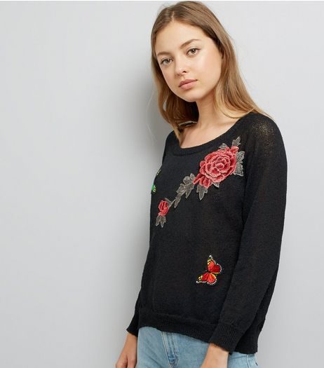 Mela Black Floral Embroidered Split Back Hem Jumper | New Look