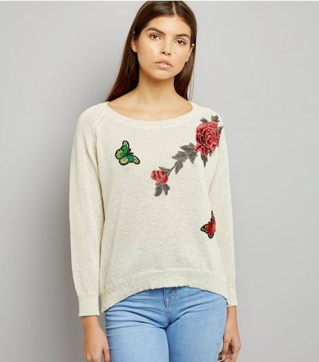 Mela Cream Floral Embroidered Split Back Hem Jumper | New Look