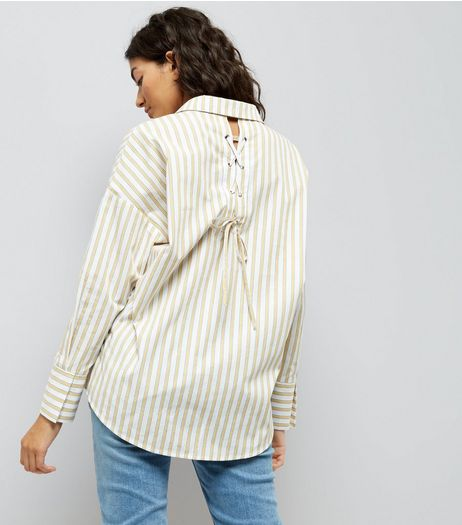 Yellow Stripe Lace Up Back Shirt | New Look