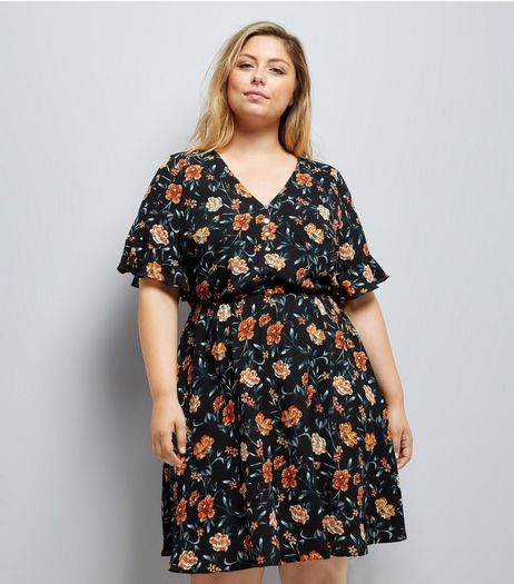 Curves Black Floral Print Flute Sleeve Dress | New Look