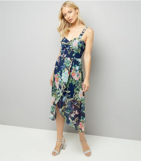 Mela Blue Floral Asymmetric Hem Dress | New Look