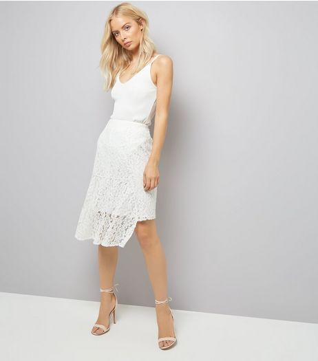 Cream Lace Asymmetric Hem Midi Skirt | New Look